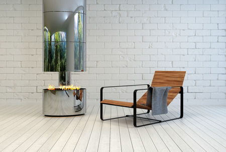recliner: Contemporary wooden slatted metal recliner chair near an open stainless steel chimney and fire in a white painted room with brick walls and wooden floor in a relaxing living space