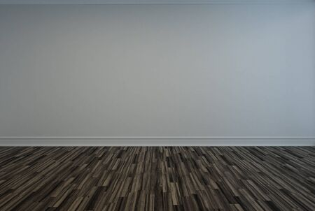 skirting: Bare empty room with a wooden parquet floor and grey painted wall with skirting for your interior decor design