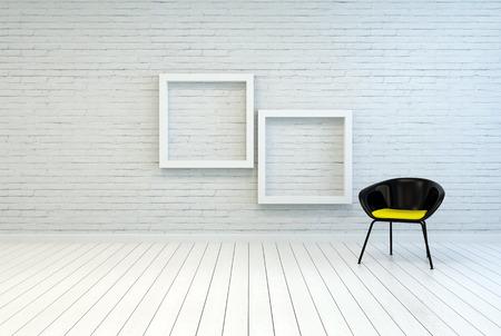 frame on wall: Sedia Tub insieme due foto vuoto quadrato bianco di legno incornicia su un muro di mattoni bianchi e pavimento in parquet in una semplice minimalista casa o galleria interni Archivio Fotografico