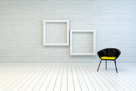brick floor: Tub chair alongside two empty square white wooden picture frames on a white brick wall and wooden parquet floor in a simple minimalist home or gallery interior