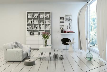 Compacte moderne witte woonkamer interieur met wit geschilderde houten vloer en muren, een enkele bank, boekenkast en een tafel in de kleuren wit met uitzicht op een grote vloer tot plafond raam met witte gordijnen