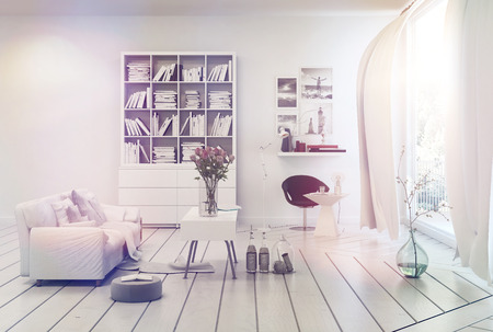 compact: Bright airy white living room interior with simple decor of a single sofa, bookcase, table and floor ornaments overlooking a large window with long curtains and sun flare over a white wood floor