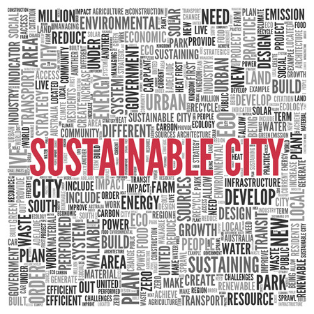 local government: Close up Red SUSTAINABLE CITY Text at the Center of Word Tag Cloud on White Background.