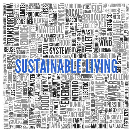 sustained: Close up Blue SUSTAINABLE LIVING Text at the Center of Word Tag Cloud on White Background.