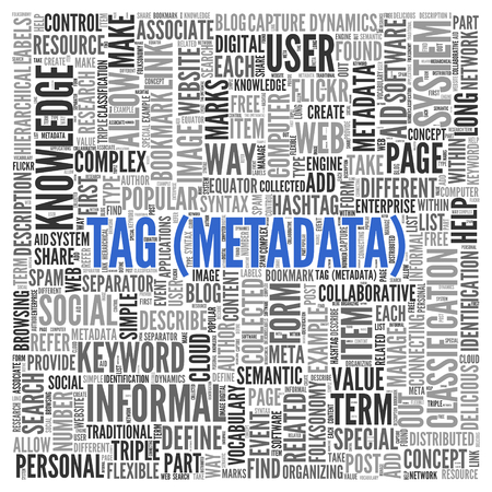 metadata: Blue Tag Metadata Texts with Other Related Keywords in Word Tag Cloud Design for Web Concepts. Stock Photo