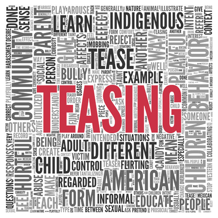 teasing: Close up Red TEASING Text at the Center of Word Tag Cloud on White Background. Stock Photo