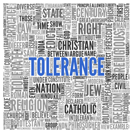 tolerate: Close up Blue TOLERANCE Text at the Center of Word Tag Cloud on White Background.
