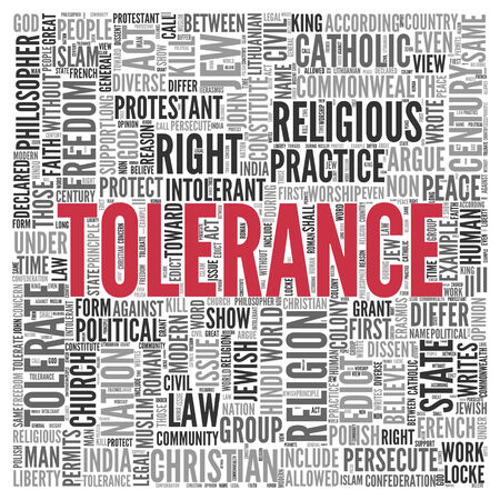 act of god: Close up Red TOLERANCE Text at the Center of Word Tag Cloud on White Background.