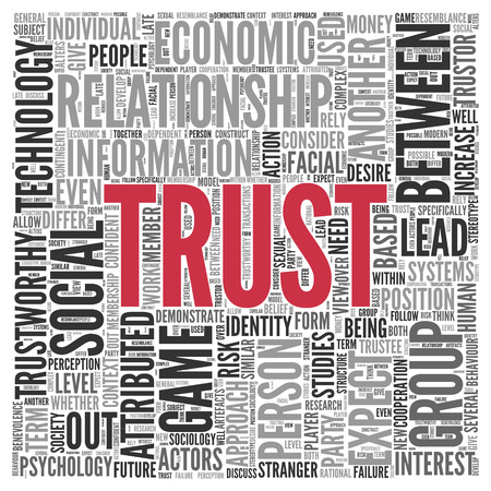 attributed: Close up Red Trust Text at the Center of Word Tag Cloud on White Background.