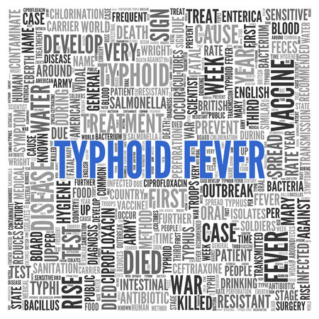 typhus: Close up Blue TYPHOID FEVER Text at the Center of Word Tag Cloud on White Background.