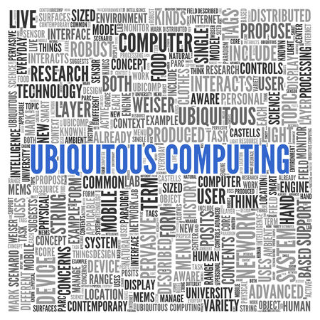 pervasive: Close up Blue UBIQUITOUS COMPUTING Text at the Center of Word Tag Cloud on White Background.