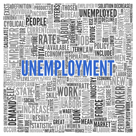 labor market: Close up Blue UNEMPLOYMENT Text at the Center of Word Tag Cloud on White Background. Stock Photo