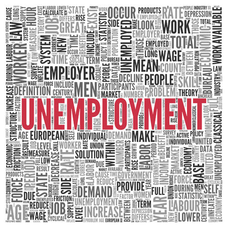 unemployment rate: Close up Red UNEMPLOYMENT Text at the Center of Word Tag Cloud on White Background. Stock Photo