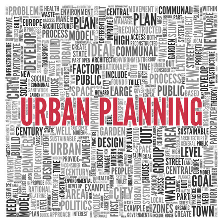 urban planning: Close up Red URBAN PLANNING Text at the Center of Word Tag Cloud on White Background.