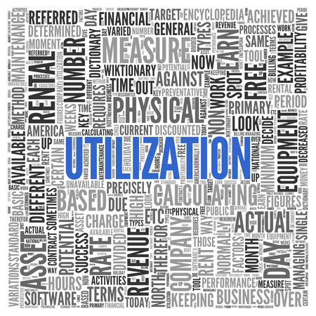 utilization: Close up Blue UTILIZATION Text at the Center of Word Tag Cloud on White Background.