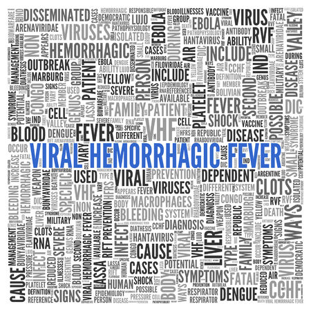 hemorrhagic: Blue Viral Hemorrhagic Fever Texts and Related Keywords in Gray in Simple Word Tag Cloud Design on White Background.
