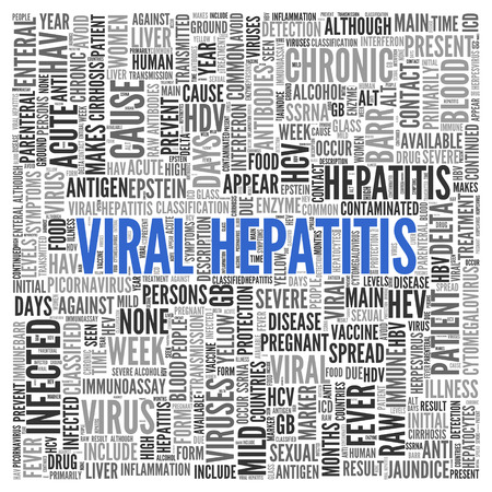 viral: Close up Blue VIRAL HEPATITIS Text at the Center of Word Tag Cloud on White Background. Stock Photo
