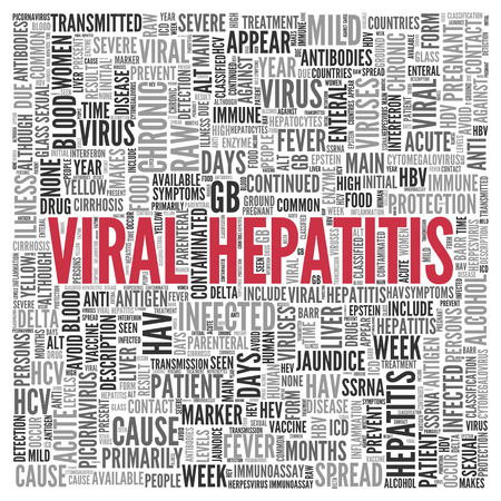 antibodies: Close up Red VIRAL HEPATITIS Text at the Center of Word Tag Cloud on White Background.