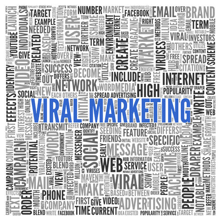 viral: Close up Blue VIRAL MARKETING Text at the Center of Word Tag Cloud on White Background.