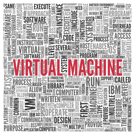emulate: Close up Red VIRTUAL MACHINE Text at the Center of Word Tag Cloud on White Background.