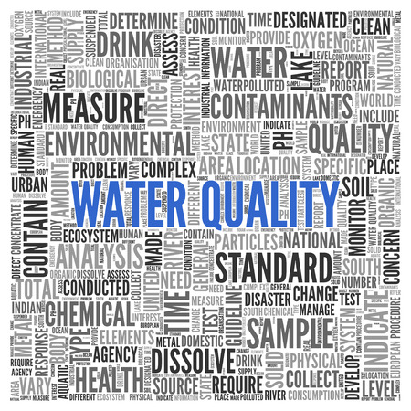 dissolve: Close up Blue WATER QUALITY Text at the Center of Word Tag Cloud on White Background.