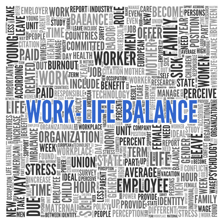 life balance: Close up Blue WORK LIFE BALANCE Text at the Center of Word Tag Cloud on White Background. Stock Photo