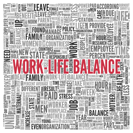 working week: Close up Red WORK LIFE BALANCE Text at the Center of Word Tag Cloud on White Background.