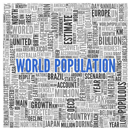 population growth: Close up Blue WORLD POPULATION Text at the Center of Word Tag Cloud on White Background. Stock Photo