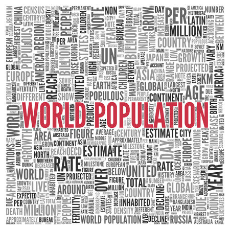 populous: Close up Red WORLD POPULATION Text at the Center of Word Tag Cloud on White Background.