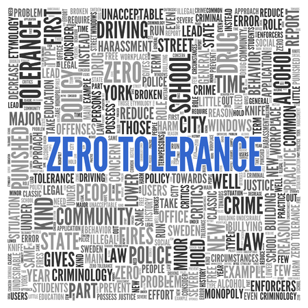 criminology: Simple Blue Zero Tolerance Texts and Related Words in Word Tag Cloud Design on White Background. Stock Photo
