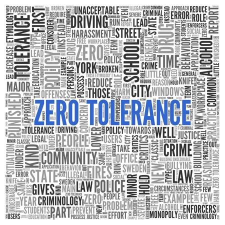 tolerancia: Simples Textos Tolerancia Cero Azul y palabras relacionadas en Word nube de etiquetas de diseño sobre fondo blanco.