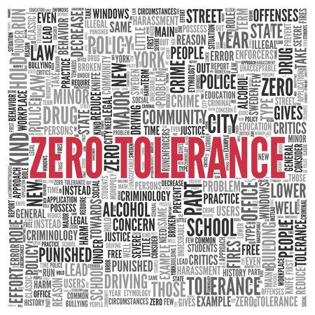 tolerancia: Red Zero Tolerance Textos y palabras relacionadas en Word nube de etiquetas de diseño sobre fondo blanco. Foto de archivo