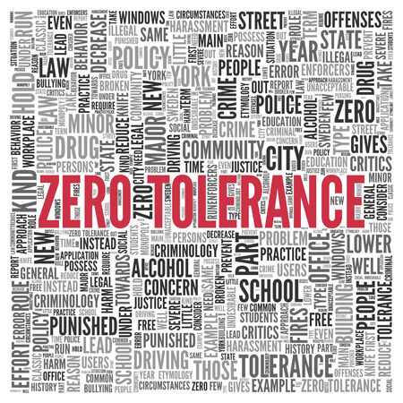 criminology: Red Zero Tolerance Texts and Related Words in Word Tag Cloud Design on White Background.