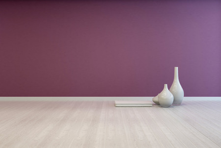 interior layout: Colorful bare purple living room interior with a white wooden floor unfurnished except for an arrangement of small ceramic vases on the floor with space for imaginative interior decor