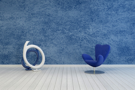 uncarpeted: Minimalist blue living room decor and interior with a rough textured painted wall over a white wooden floor with a modular armchair and contemporary abstract round sculpture or artwork