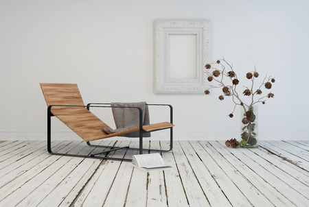 Minimalist living area interior design with a contemporary slatted wooden recliner in a rustic white room with painted wooden floor and flower arrangement