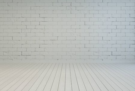 3D Rendering of Empty room interior with white brick wall and parquet floor photo