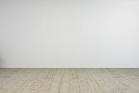 uncarpeted: 3D Rendering of empty white room interior with concrete floor Stock Photo