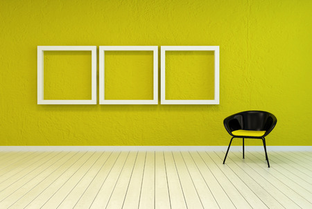 uncarpeted: Colorful modern art gallery interior with three empty white wooden picture frames on a vibrant green-yellow wall with a tub chair alongside over a white painted wooden floor