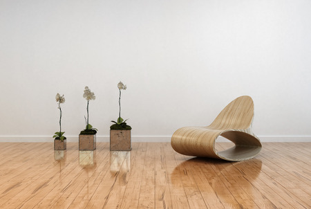 polished floor: Stylish contemporary living room interior with an unusual bentwood chair facing three potted orchids in flower on a polished shiny parquet floor and white wall