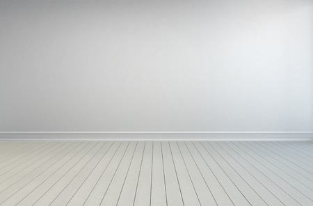 unfurnished: Simple empty white room interior with painted wooden floorboards, skirting and a white wall with grey overtones for use as a design template Stock Photo