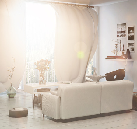 Compact living area with sun flare through a large floor-to-ceiling window with white curtains and an upholstered sofa overlooking the garden