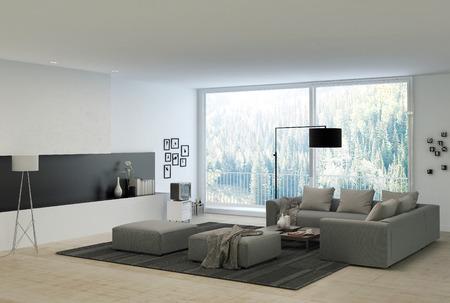 灰色は自然な外観のガラス窓の備わるエレガントな白い建築リビング ルームでソファします。