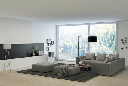 Gray Couches at Elegant White Architectural Living Room with Glass Windows for Natural Outside View.