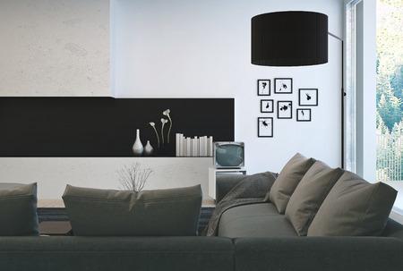 architectural interior: Architectural Interior Design - Gray Sofa on Beautiful Lounge Room with Elegant Decorations. Stock Photo