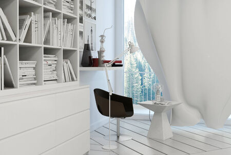 reading lamp: Nice white reading corner with black leather armchair and curtain