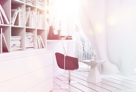 Nice white reading corner with armchair and curtain covered in sunlight with sunflare photo