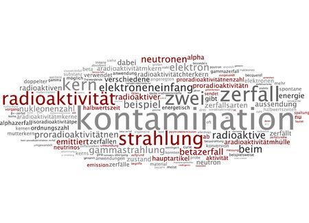 gamma radiation: Word cloud of contamination in German language Stock Photo