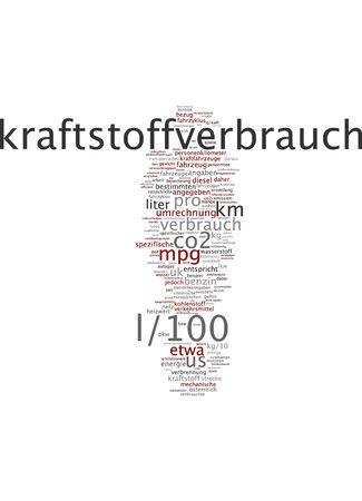 corresponds: Word cloud of fuel consumption in German language