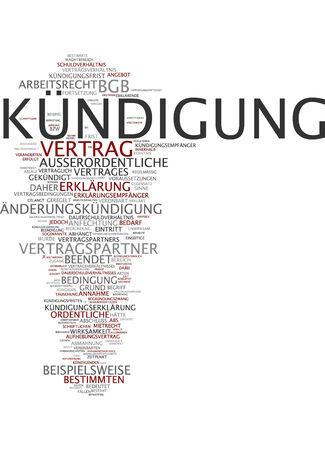 Word cloud of termination in German language Stock Photo